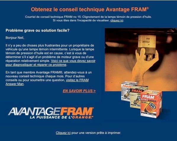 FRAM Tech Tip email
