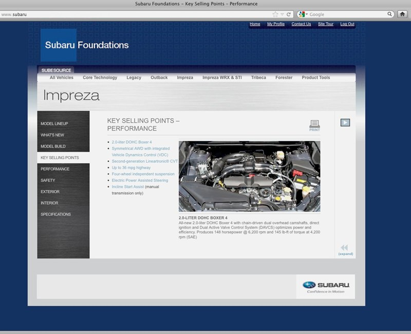 Subaru Impreza Sales Training Website