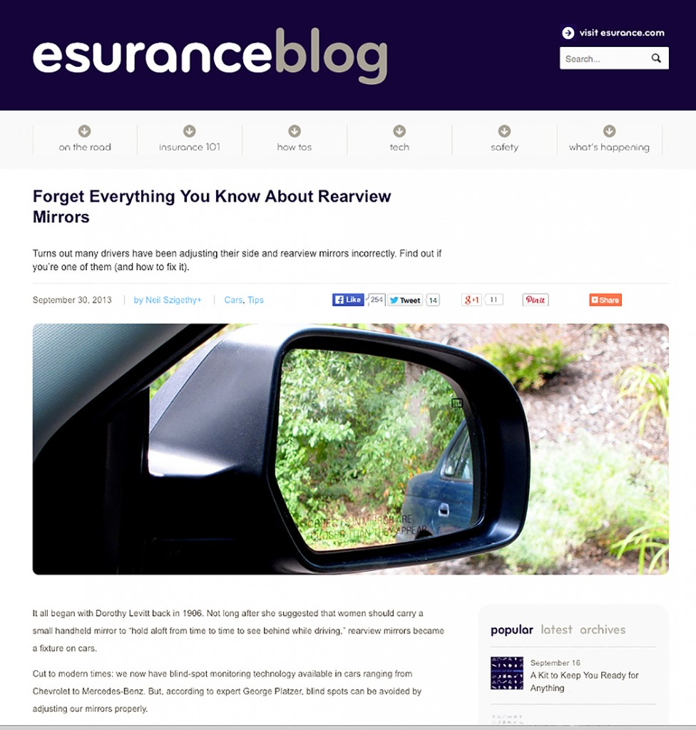 Esurance Blog: Correct Mirror Adjustment